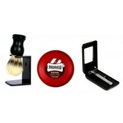 Pędzel do golenia + stojak + mydło